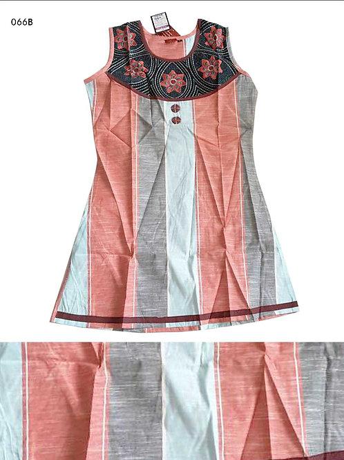 066B  Red and Sky Blue Designer Cotton Kurtis