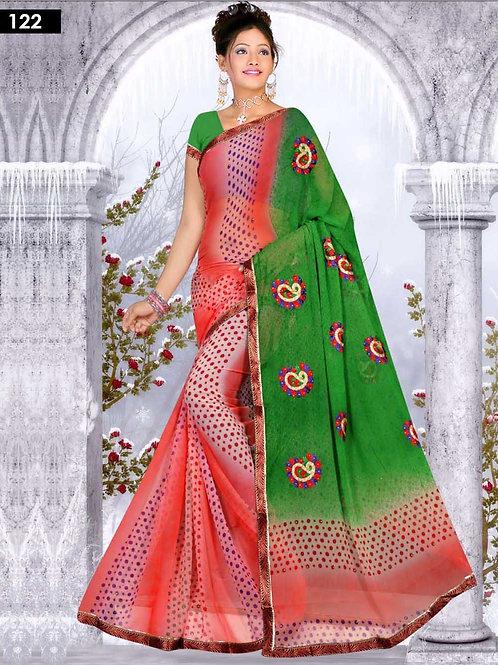 122 Green and Multicolor Designer Saree