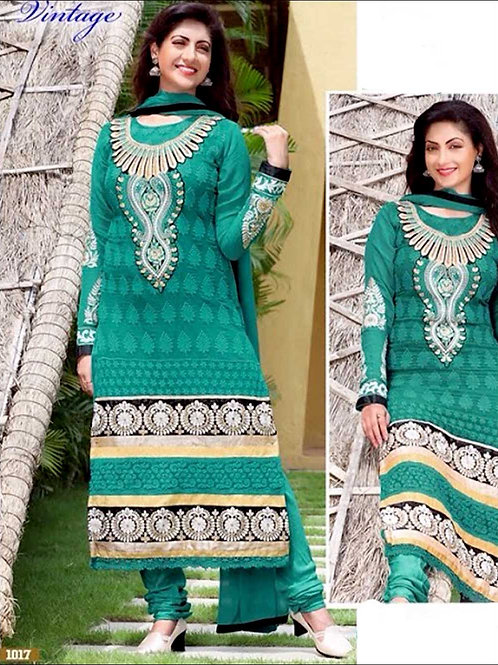 1017SeaGreen and Silver Georgette Straight Suit