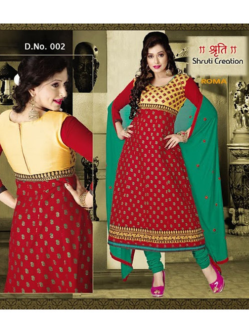 002Red and Dark Sea Green Anarkali Suit