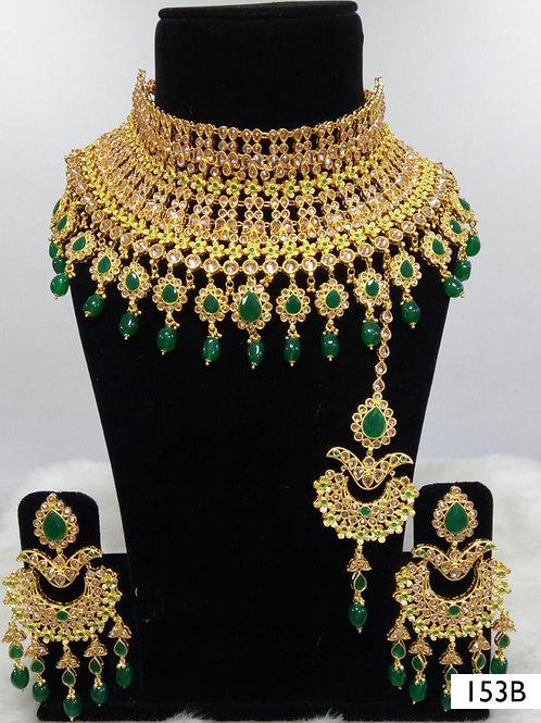 153B Green Pearl Bridal Wear Necklace Set With Maang Tika