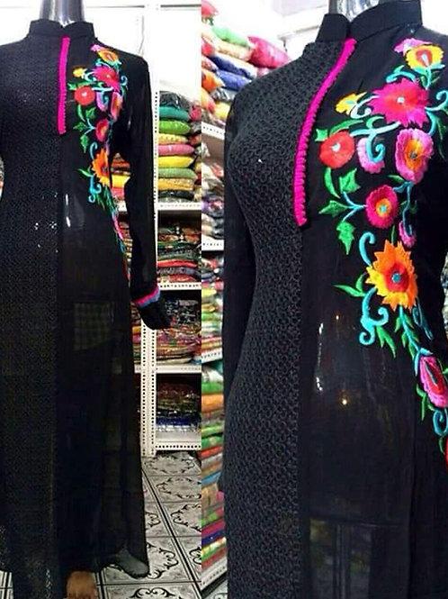 1001 Black and Multicolor Designer Daily Wear Replica Suit
