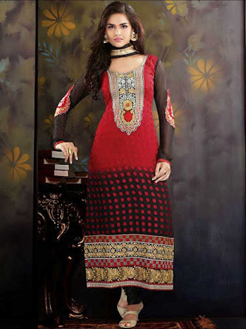 10003Red and Black Brasso Straight Suit