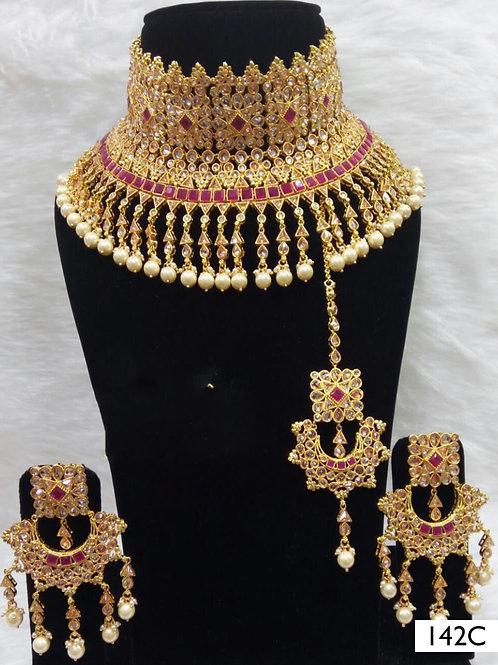 142C  Maroon Bridal Wear Necklace Set With Maang Tika