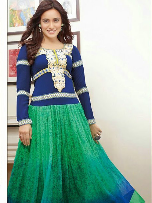 1096 Blue and Sea Green Anarkali Suit