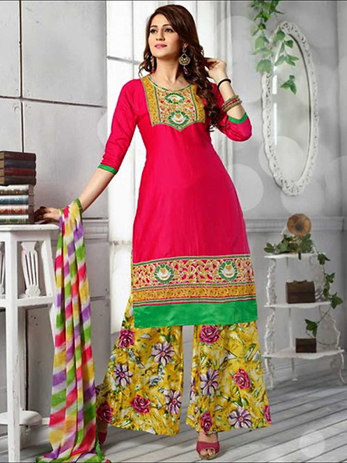1390BrightMagenta and Multicolor Daily Wear Cotton Plazzo Suit