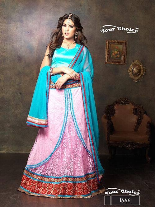 1666SkyBlue and Pink Net Brasso Party Wear Lehenga Choli