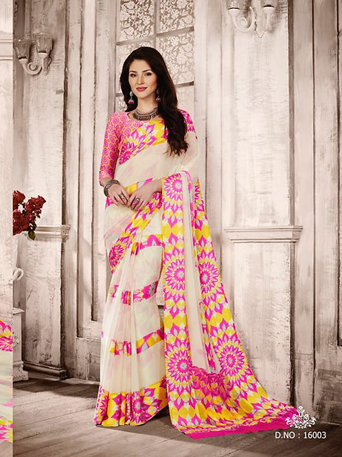 16003Ivory and Pink Exclusive Function Wear Georgette Saree