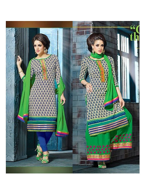 1105Beige Green and RoyalBlue Plazo Suit