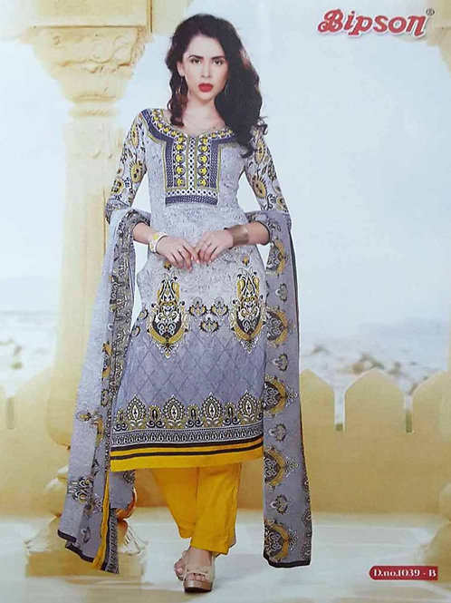 1039B Gray and Yellow Cotton Straight Suit