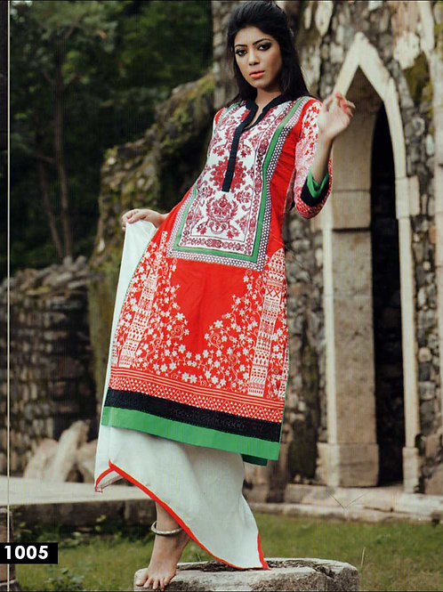 1005White and Red Cotton Lawn Daily Wear Kurti