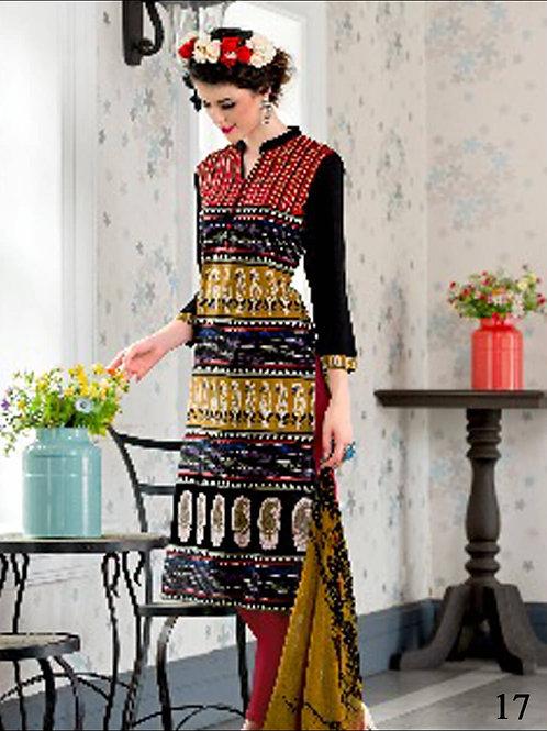 17 Black and Multicolor Cotton Straigt Suit