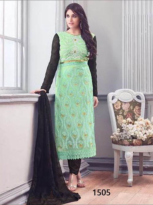 1505Pista Green Designer Unstitched Straight Suit