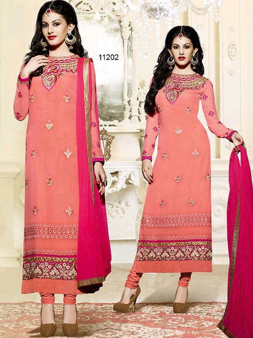 11202 Peach And Magenta Straight Suit