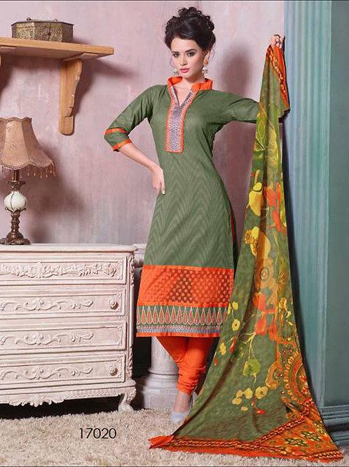 17020Mehendi Green & Orange Designer Plazo Suit