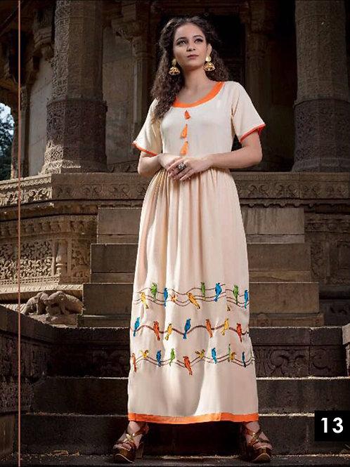13 Skin Gown type Stitched kurti