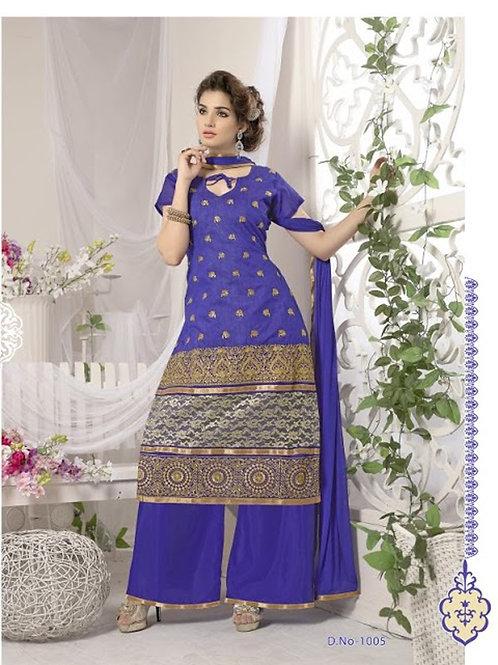 1005 Dark Slate Blue Designer Heavy Chanderi with Embroidered Plazo
