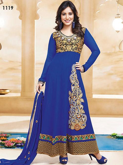 1119 Blue and Golden Anarkali Suit