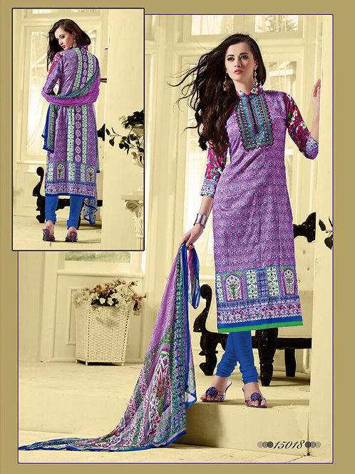 15018 Purple and Royal Blue Cotton Satin Straight Suit