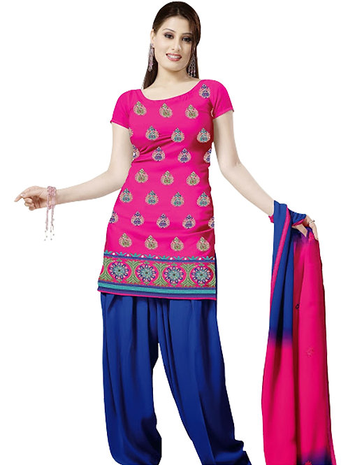 1001 Deep Pink and Midnight Blue Velvet Embroidered Dress Material