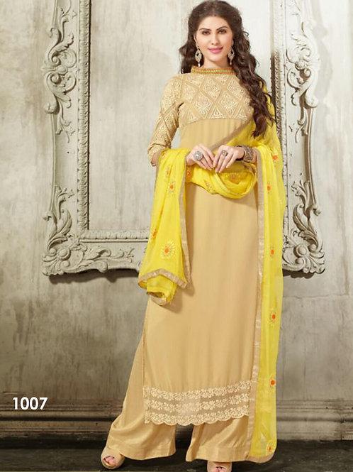 1007Beige Designer Georgette Plazo Suit
