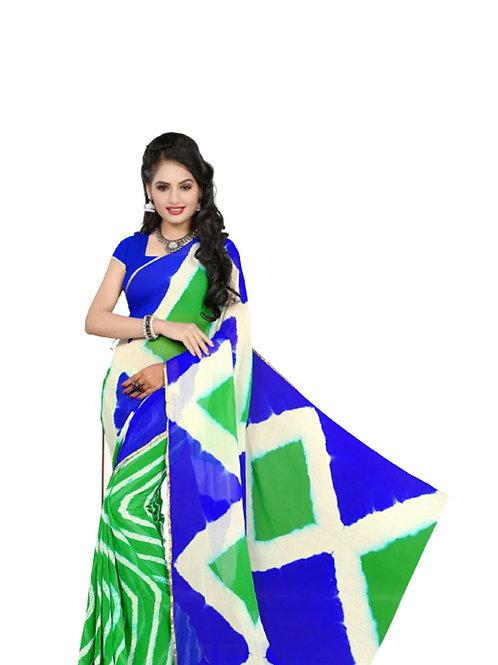 102 Parrot Green Exclusive Diamond Chiffon Laheriya Sarees