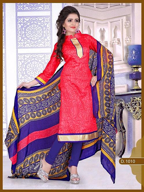 1010 Designer Red Chudidar Suit