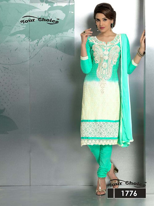 1776 Aqua Green and Ivory Party Wear Nazneen Straight Suit