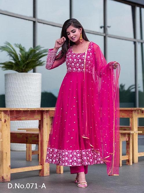 071A Designer Embroidered  Anarkali Gown