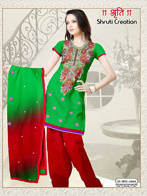 1008 Green and Red Georgette Jacquard Dress Material