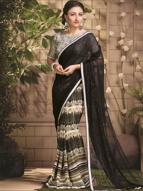1488RichBlack and Ivory Party Wear Designer Saree