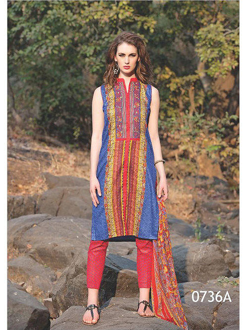 0736A Red and Blue Satin Cotton Straight Suit