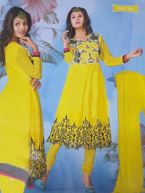 1003 Yellow Georgette Anarkali Suit