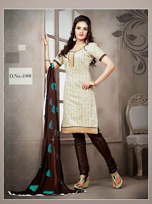 1008 Ivory and Dark Brown Chudidar Suit