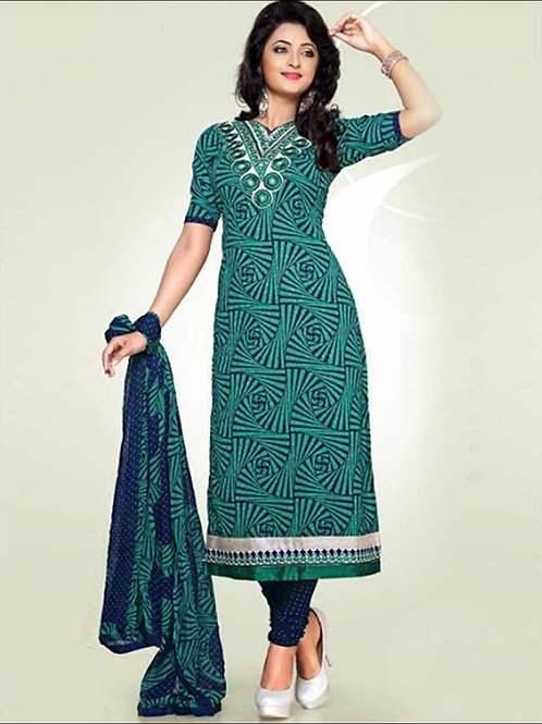 1679ASeaGreen and MindnightBlue Cotton Dress Material