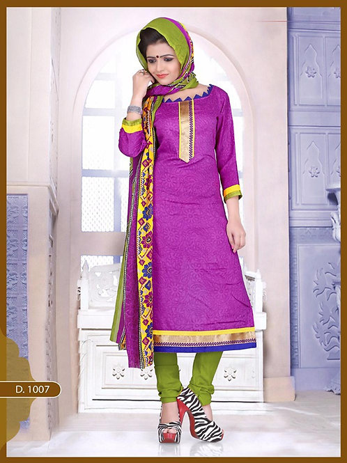 1007 Designer Purple Chudidar Suit