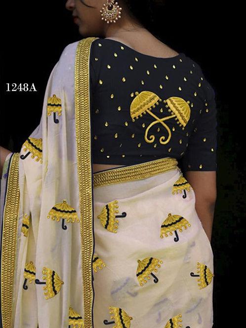 1248A Cream and Black Designer Chanderi Silk Saree