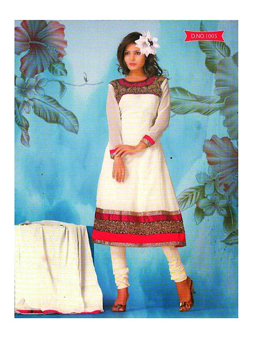 1005 White and Deep Pink Georgette Anarkali Suit
