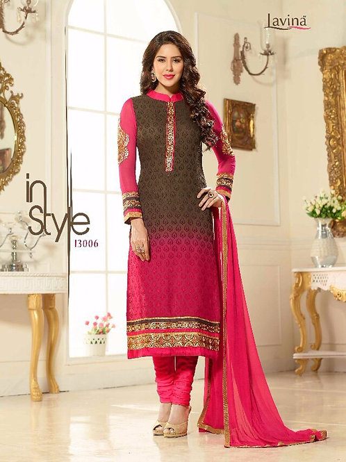 13006CoffeeBrown and DarkMagenta Party Wear Embroidered Brasso Straight Suit