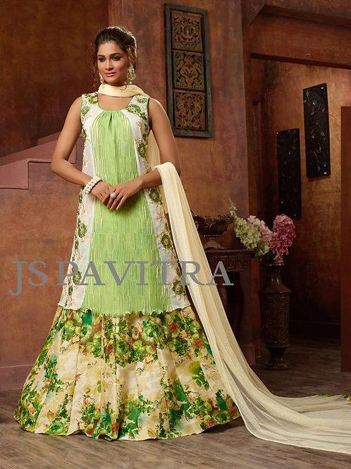 1002PistaGreen and Multicolor Fancy Function Wear Designer Suit