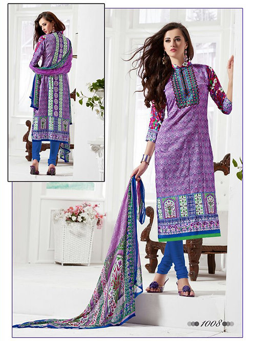 1008Purple and RoyalBlue Daily Wear Satin Cotton Straight Suit