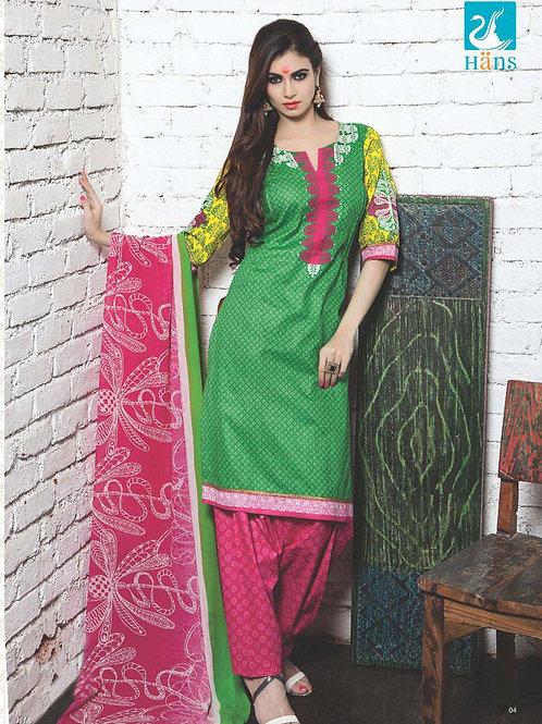 01Green and Pink Cotton Satin Pakistani Suit