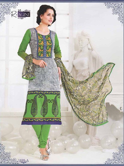 1698A White and Green Cotton Straight Suit