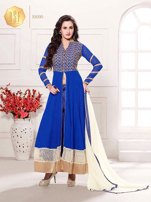 10090Blue and White Party Wear Georgette Anarkali Suit