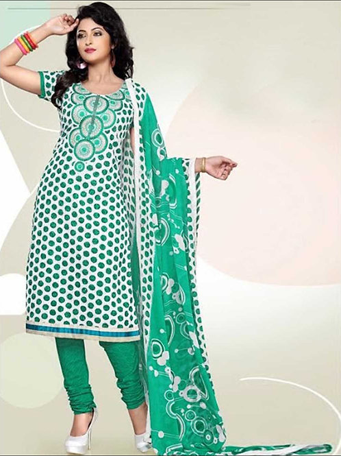 1680ASpringGreen and Ivory Cotton Dress Material