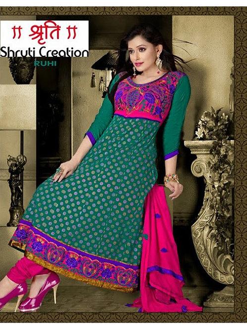 005Dark Green and Pink Anarkali Suit