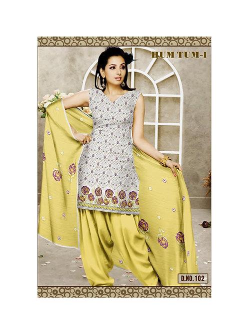 102Ivory and CornYellow Karachi Cotton Dress Material
