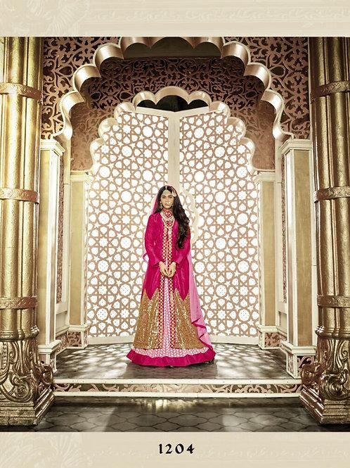 1204 Pink and Golden Banglory Silk Designer Suit