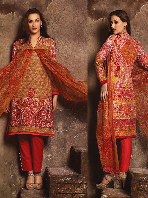 04Brown and Red Printed Pure Lawn Daily Wear Pakistani Style Indian Suit