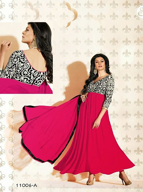 11006A BrightPink and Black Anarkali Suit